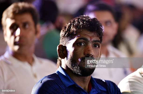 Rio Olympic bound wrestler Yogeshwar Dutt during an event organised by Olympians Association of India at Taj Mansingh Hotel on July 4 2016 in New...