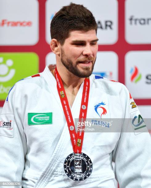 Rio Olympic bronze medallist and silver medallist Cyrille Maret of France at the u100kg medal ceremony during the 2017 Paris Grand Slam at the...