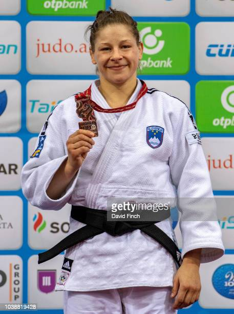 Rio Olympic champion Tina Trstenjak of Slovenia received the u63kg bronze medal during day four of the 2018 Judo World Championships at the National...