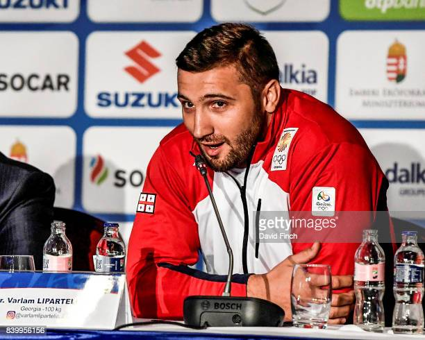 Rio Olympic silver medallist Varlam Liparteliani of Georgia answers questions during the press conference before the 2017 Suzuki World Judo...