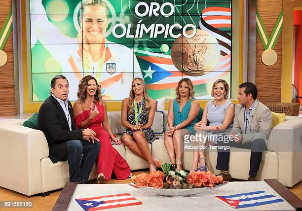 Rio Olympics 2016 Women's Singles Tennis Gold medalist Monica Puig of Puerto Rico Daniel Sarcos Rashel Diaz Adamari Lopez Ana Maria Canseco and Diego...