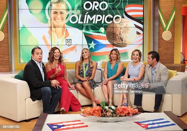 Rio Olympics 2016 Women's Singles Tennis Gold medalist Monica Puig of Puerto Rico Daniel Sarcos Rashel Diaz Adamari Lopez Ana Maria Canseco and Diego...