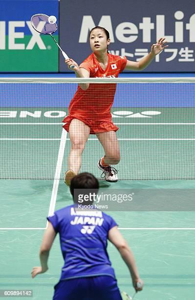 Rio Olympics bronze medalist Nozomi Okuhara faces off against Akane Yamaguchi at the Yonex Open Japan in Tokyo on Sept 23 2016 Yamaguchi won 2111...