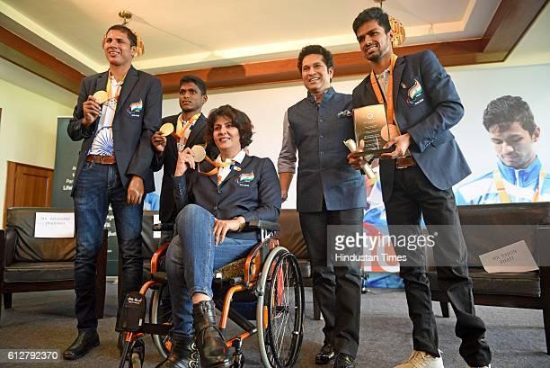 Rio Paralympics Gold Medal winner Devendra Jhajharia Gold Medal winner Mariyappan Thangavelu Silver medal winner Deepa Malik along with bronze medal...