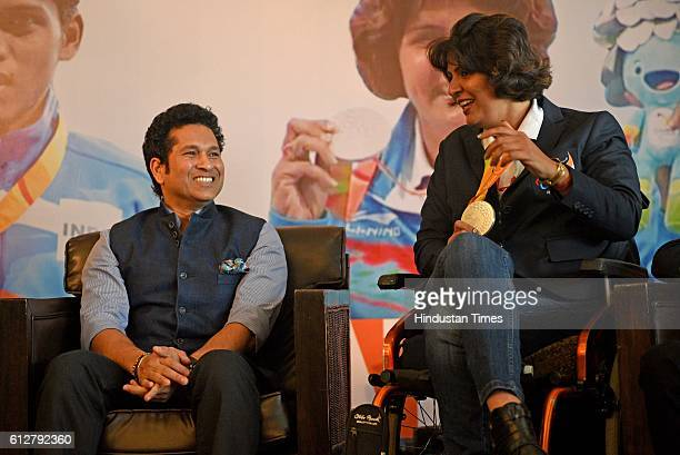 Rio Paralympics Silver medal winner Deepa Malik along with former Indian cricketer Sachin Tendulkar during a felicitation ceremony at MCA on October...