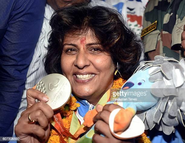 Rio Paralympics silver medallist Deepa Malik arrives at Indira Gandhi International Airport on September 17 2016 in New Delhi India On September 12...