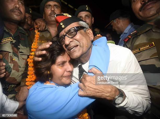 Rio Paralympics silver medallist Deepa Malik with her father Colonel BK Nagpal as she arrives at Indira Gandhi International Airport on September 17...