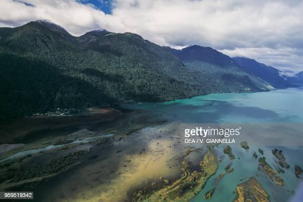 Rio Peulla flowing into Lake Todos Los Santos aerial view Vicente Perez Rosales National Park Los Lagos Region Chile