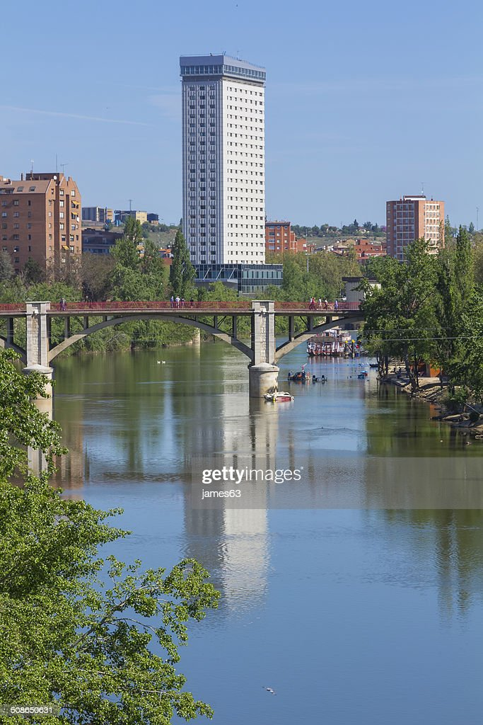 Rio Pisuerga passing through the city of Valladolid, Spain : Stock Photo