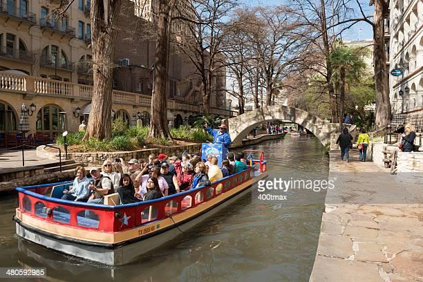 rio san antonio boat tour - san antonio river walk stock photos and pictures