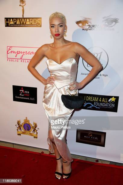 Rio Summers arrives at the Hollywood and African Prestigious Awards at Alex Theatre on November 03, 2019 in Glendale, California.