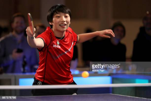 Rio Table Tennis Olympian Jennifer Wu competes in the pro table tennis tournament during the TopSpin charity fundraiser at the Metropolitan Pavilion...