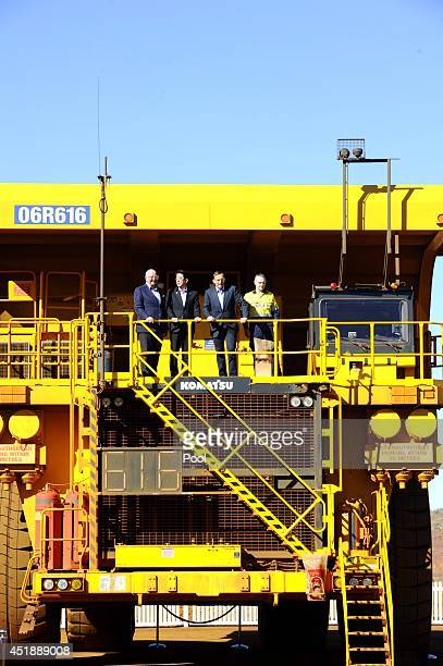 Rio Tinto CEO Sam Walsh Prime Minister Tony Abbott Japanese Prime Minister Shinzo Abe and Rio Tinto CEO Iron Ore Andrew Harding pose for a photograph...