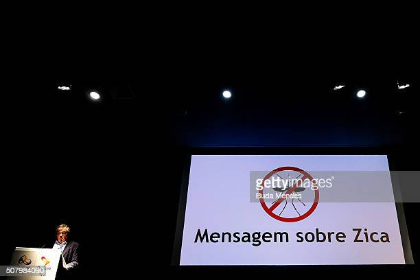 Rio2016 Olympic Games Communications Director Mario Andrada speaks during a press conference on February 2 2016 in Rio de Janeiro Brazil Rio Olympics...