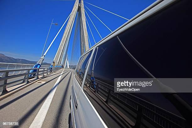 RioAndirrio Bridge or CharilaosTrikoupisBridge on June 15 2009 in Patras Greece The bridge crossing the Golf of Korinth is connecting the westgreek...