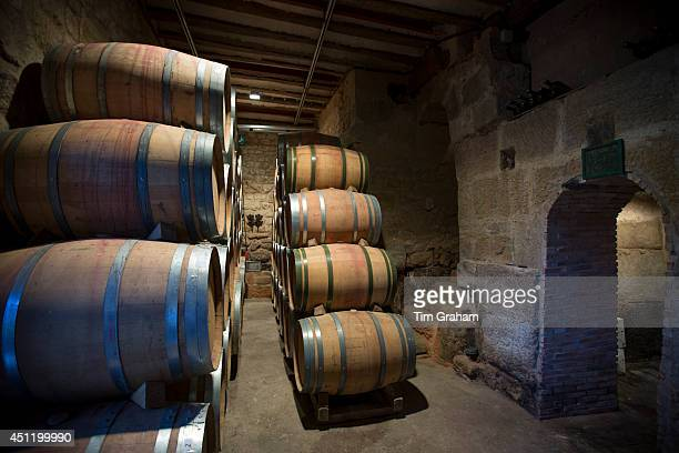 Rioja wine in American oak barrels in cave at Bodegas Agricola Bastida in RiojaAlavesa area of Basque country Spain