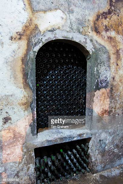 Rioja wine stored in underground cellar at Carlos San Pedro Bodega winery in medieval Laguardia in Basque country Spain