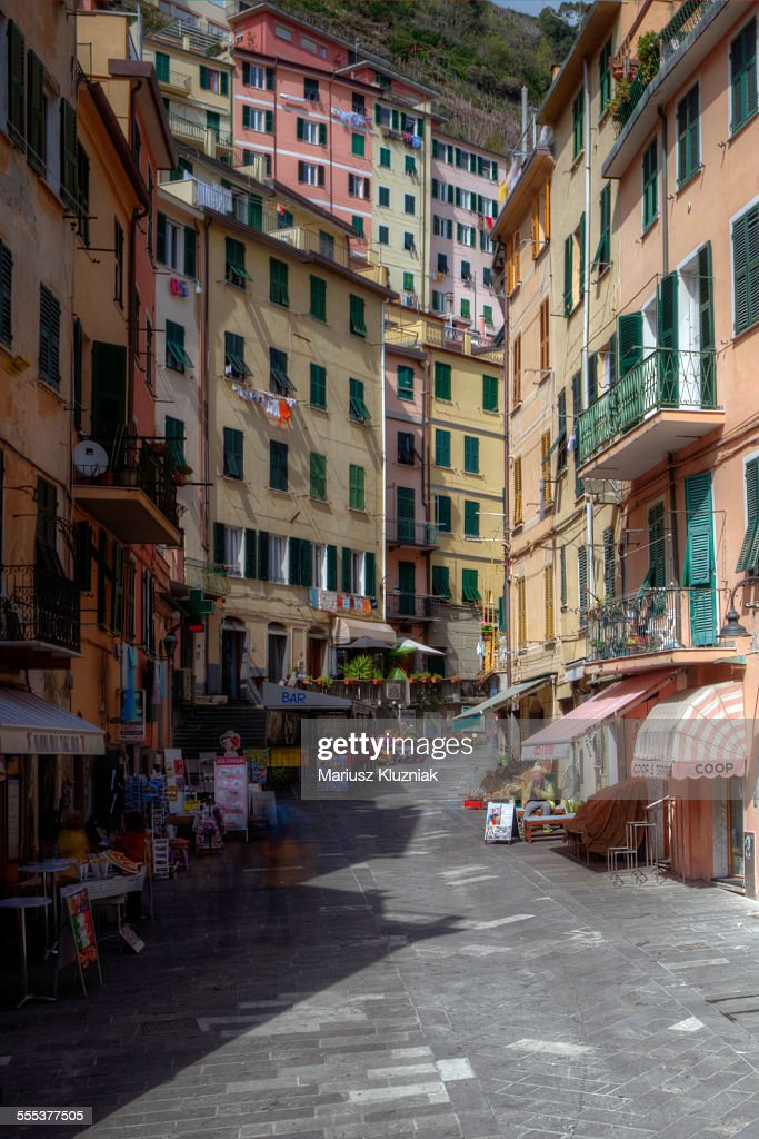 Riomaggiore old town main shopping street : Stock Photo