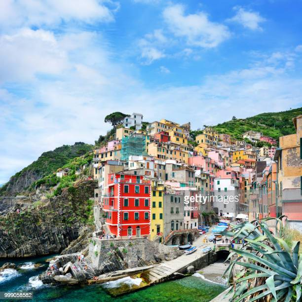 riomaggiore town in cinque terre, italy - unesco stock pictures, royalty-free photos & images