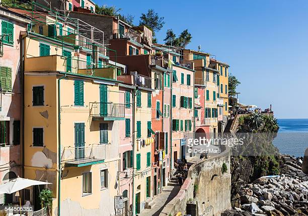 riomaggiore village in italy - didier marti stock photos and pictures