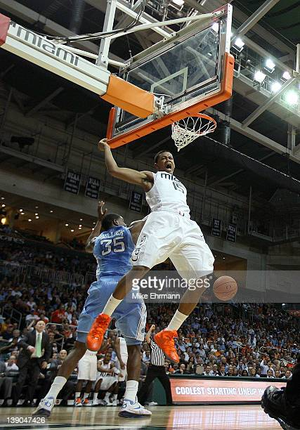 Rion Brown of the Miami Hurricanes reacts to a dunk during a game against the North Carolina Tar Heels at the BankUnited Center on February 15, 2012...