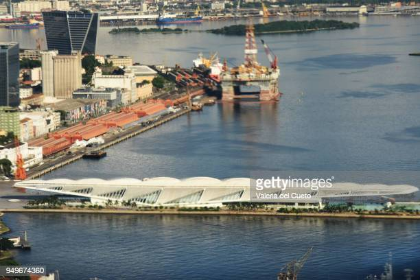 rio´s harbour and tomorrow museum, aerial - sem fim... valéria del cueto stock pictures, royalty-free photos & images