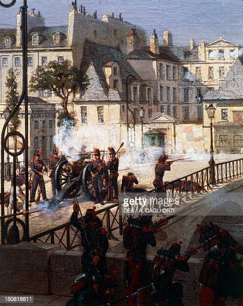 Riot at the bridge of the Archbishop in Paris during the revolution of 1848 painting by Philippe Chaperon France 19th century