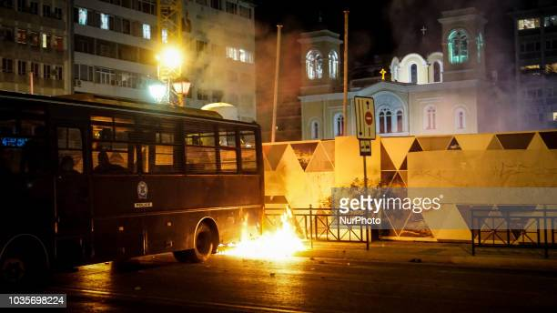 A riot bus burns during the 5th Anniversary of the murder of Pavlos Fyssas in Piraeus 18 September 2018 September 2018 marks 5 years since...