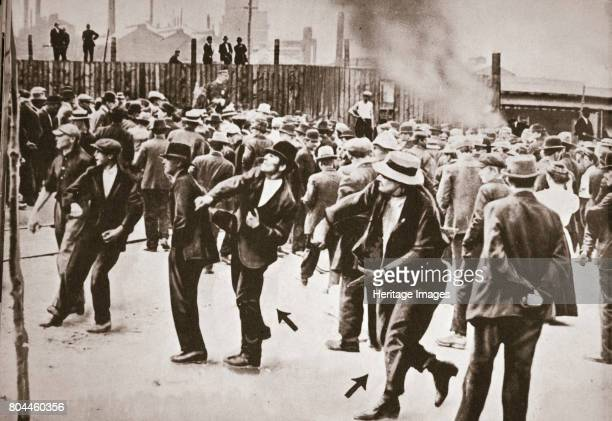 Riot during a strike by Standard Oil workers, Bayonne, New Jersey, USA, 1915. Standard Oil employees went on strike on 15 July 1915 over pay and...