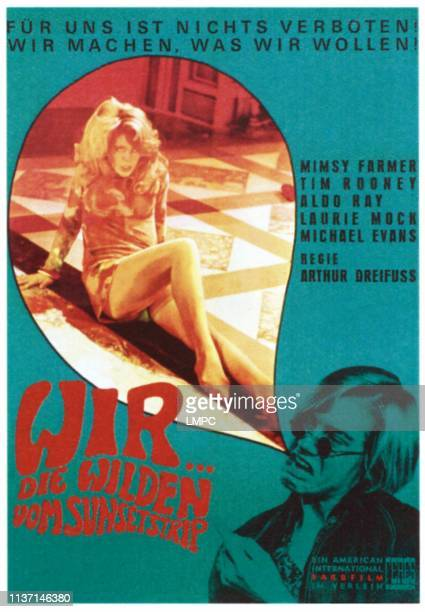 Riot On Sunset Strip poster from left Mimsy Farmer Tim Rooney on German poster art 1967