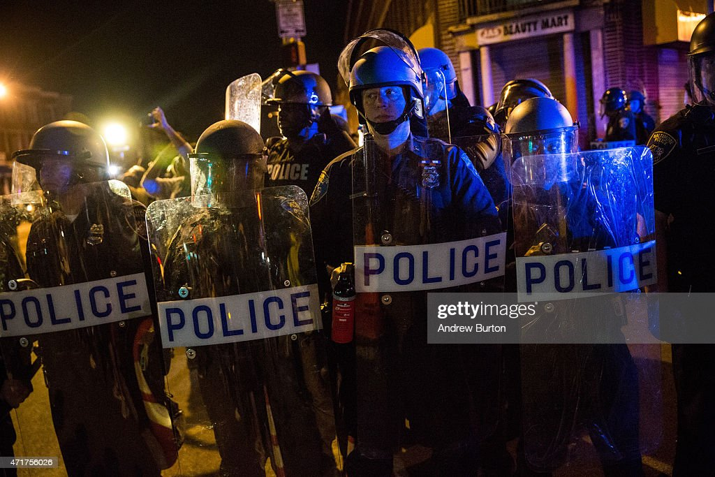 Tensions In Baltimore Continue To Simmer After Days Of Riots And Protests Over Death Of Freddie Gray : News Photo