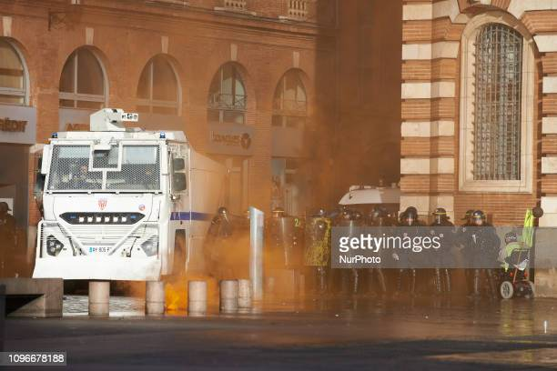 Riot police and a police water cannon stand i guard in front of the townhall of Toulouse the Capitole Act XIII dubbed 'Civil disobediencequot' of the...