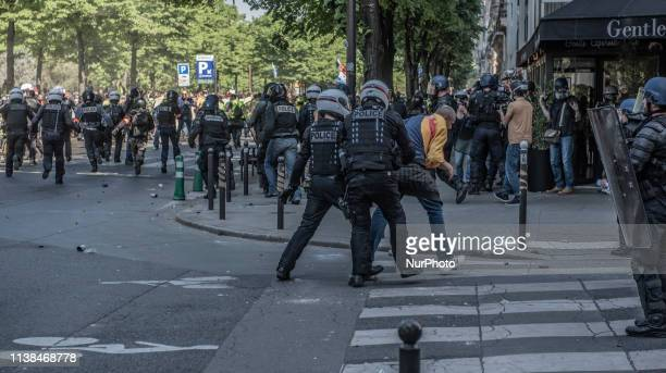 Riot Police And Protesters Have Fought Running Battles In The Centre Of Paris France on 20 April 2019 As Gilets Jaunes Antigovernment Demonstrators...