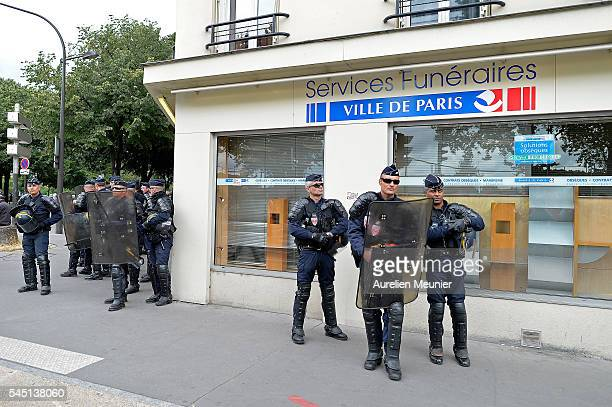 Riot police are secirung the area during the demonstration against the El Khomri law project on July 5 2016 in Paris France According to the police...
