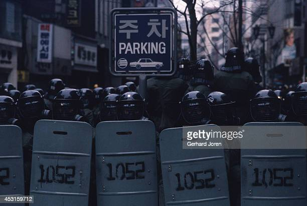 Riot police at a demonstration in downtown Seoul During this period demonstrations and protests were an almost daily occurrence in Seoul Most of them...