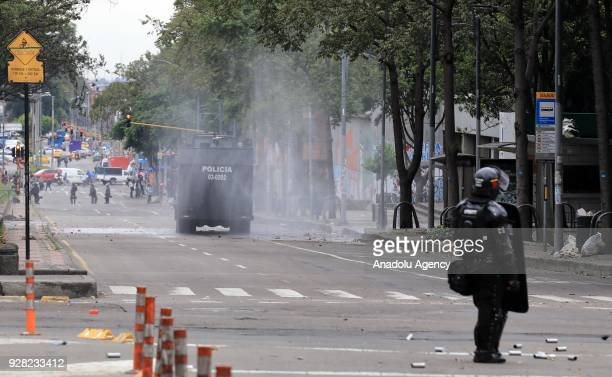 Riot police attempt to disperse protestors after clashes broke out between students and riot police during a protest due to dissatisfaction of...