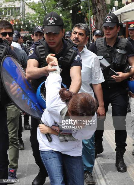 Riot police block protesters demonstrating in support of two hungerstrikers who were taken into custody in May in Ankara on June 8 2017 On May 24...