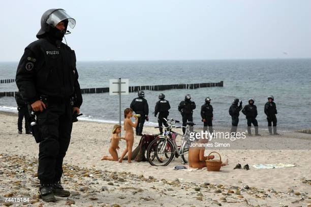 Riot police block the beach near Heiligendamm on June 6 in Boergerende Germany Thousands of G8 opponents continue to stage colourful and peaceful...
