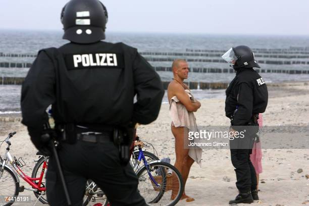 Riot police block the beach near Heiligendamm on June 6 in Boergerende Germany Thousands of G8 opponents continue to stage colorful and peaceful...