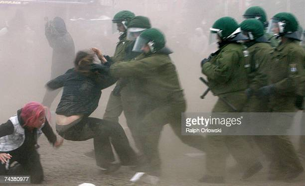 Riot Police charge at demonstrators after being attacked by rioters during the Opening Demonstration of G8 opponents on June 2 2007 in Rostock...