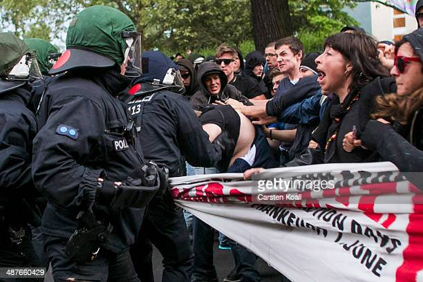 Riot police clash with leftwing protesters during a march in the annual Revolutionaerer 1 Mai demonstration in the Kreuzberg district on May Day on...