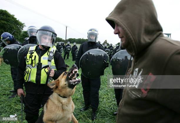 Riot Police disperse demonstators who breached the steel security fence surrounding Gleneagles on July 6, 2005 in Auchterarder, Scotland. As The G8...