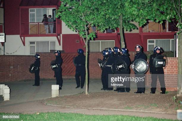 Riot police during the unrest in Wood End Coventry 14th May 1992