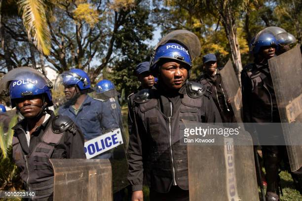 Riot Police enter the Bronte Hotel and begin ordering everyone to leave as a press conference is about to begin for MDC leader Nelson Chamisa on...