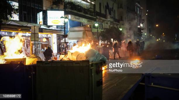 Riot police fired with tear gas as try to avoid petrol bombs by protesters in Piraeus September 2018 September 2018 marks 5 years since antifascist...