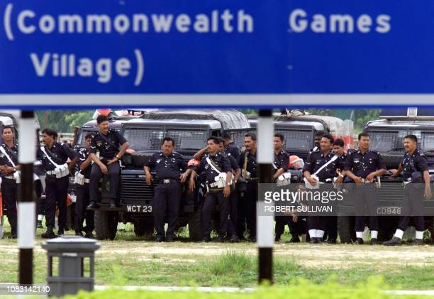 Riot police gather outside the National Stadium at Bukit Jalil 21 September the site of the Athletics and Closing ceremory for the Commonwealth Games...