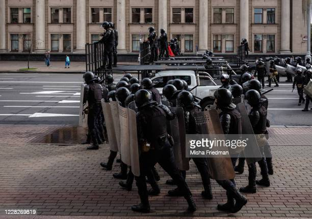 Riot police get ready to disperse an anti-government rally on August 30, 2020 in Minsk, Belarus. There have been near daily demonstrations after the...