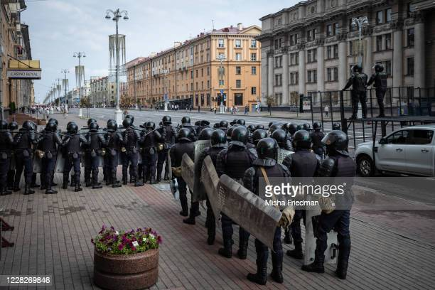 Riot police get ready to disperse an antigovernment rally on August 30 2020 in Minsk Belarus There have been near daily demonstrations after the...