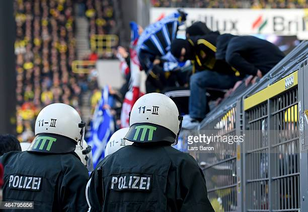 Riot police is seen during hte Bundesliga match between Borussia Dortmund and FC Schalke 04 at Signal Iduna Park on February 28 2015 in Dortmund...