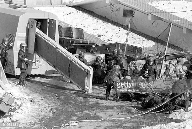 Riot police members execute a breakthrough at Asama Sanso lodge on February 28 1972 in Karuizawa Nagano Japan Police excuted a breakthrough after ten...